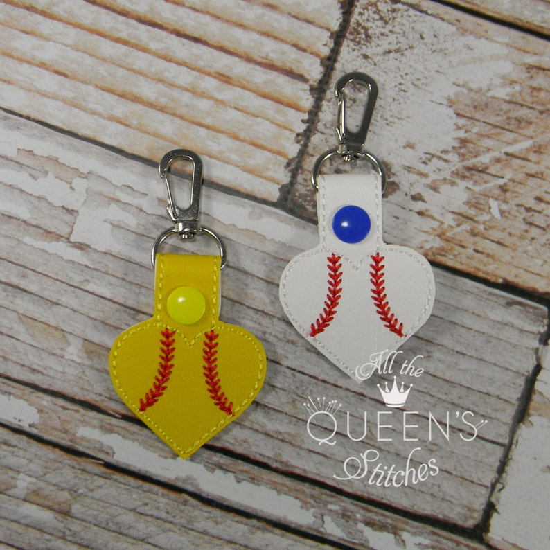 Baseball or Softball Heart Charm Keyfob/Keychain with Swivel image 0