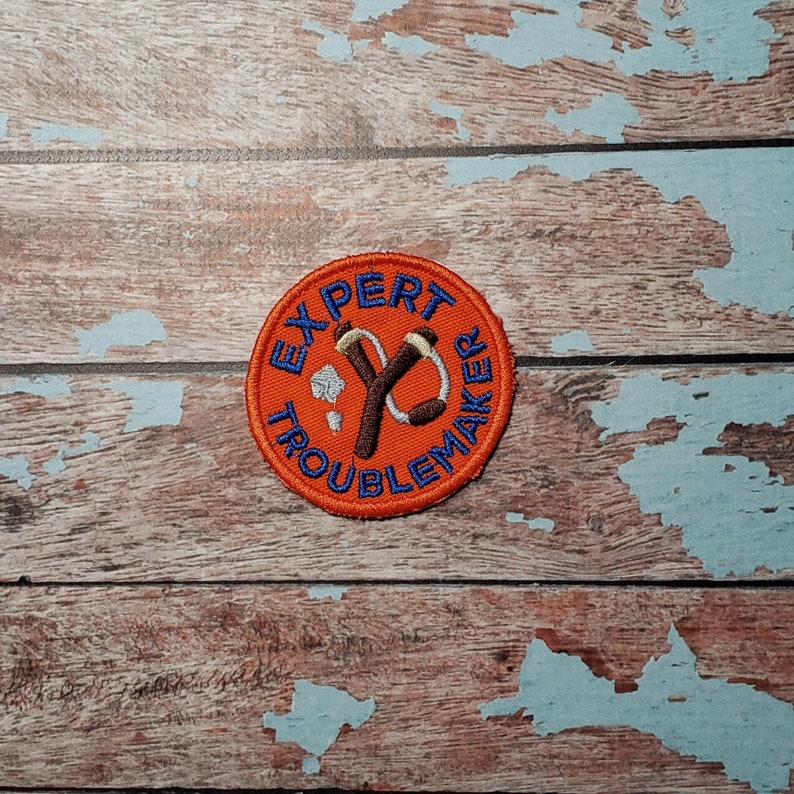 Expert Troublemaker Iron-on patch. Embroidered iron-on badge image 0