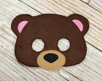 Brown Bear Mask - felt Brown Bear mask for  , Halloween, or Dress-up Play, Bear Halloween Mask, Brown Bear Halloween Costume