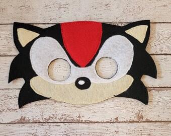 Shadow Mask - felt Black Hedgehog mask for Parties, Halloween, Dress-up Play, Sonic Halloween Mask, Hedgehog Halloween Costume