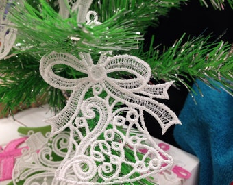 Bell Lace Christmas Tree Ornament - Lace Bell Ornament for Christmas Tree