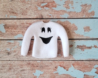 Elf Clothes - Ghost Sweater, Halloween Sweater, Elf Halloween, Elf clothes, Christmas Elf, Scout Elf, Original Elf or Plush Elf