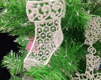 Stocking Lace Christmas Tree Ornament - Lace Stocking Ornament for Christmas Tree