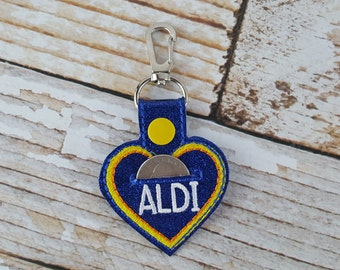 Heart Aldi Quarter Keychain - Quarter Keeper - Cart Quarter Keychain for Aldi and similar stores. Great for Christmas Stocking Stuffers!