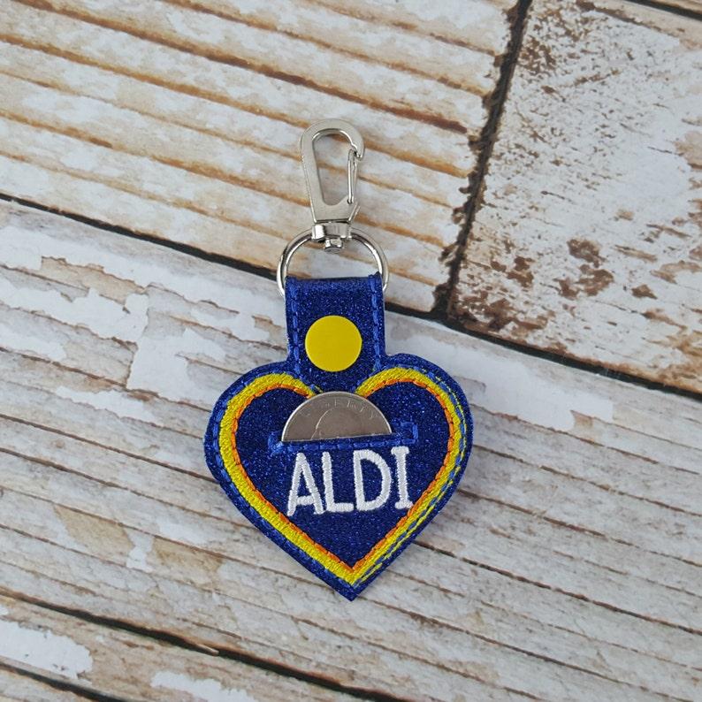 Heart Aldi Quarter Keychain  Quarter Keeper  Cart Quarter image 0