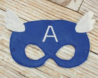 Captain America Mask - felt Captain America mask Halloween, Dress-up Play, Captain America Halloween Mask, Halloween Costume