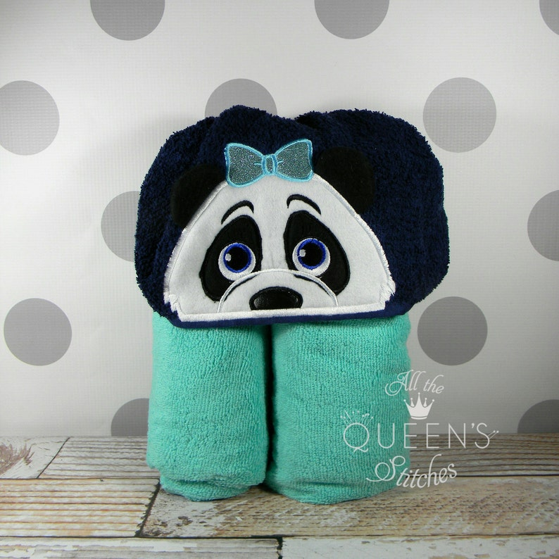 Teen or Adult Girl Panda Hooded Towel  Cute Girl Panda Hooded image 0