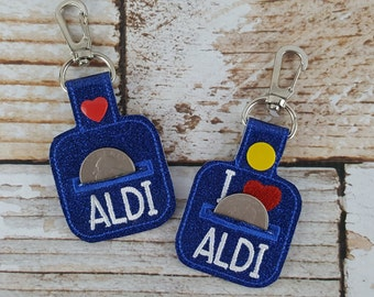 Aldi Quarter Keychain - Quarter Keeper - Cart Quarter Keychain for Aldi and similar stores. Great for Christmas Stocking Stuffers!