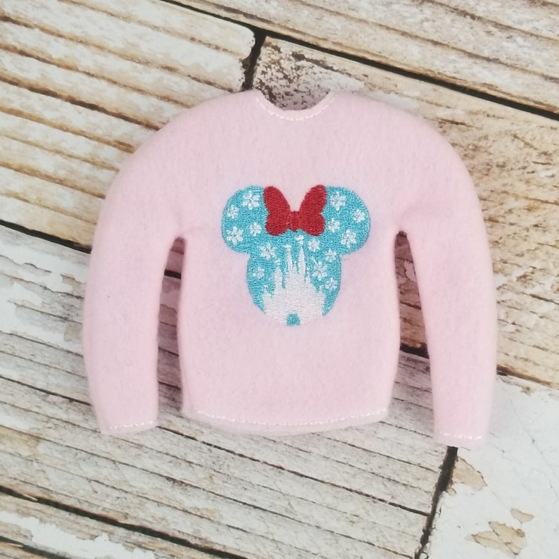 Snowflake Mouse Sweater with Bow Elf Sweater Elf clothes image 0