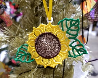 Sunflower Lace Christmas Tree Ornament - Lace Sunflower Ornament for Christmas Tree