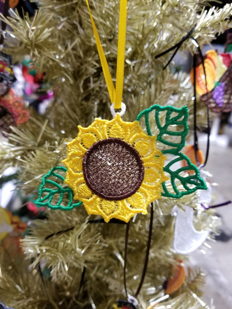 Sunflower Lace Christmas Tree Ornament  Lace Sunflower image 0