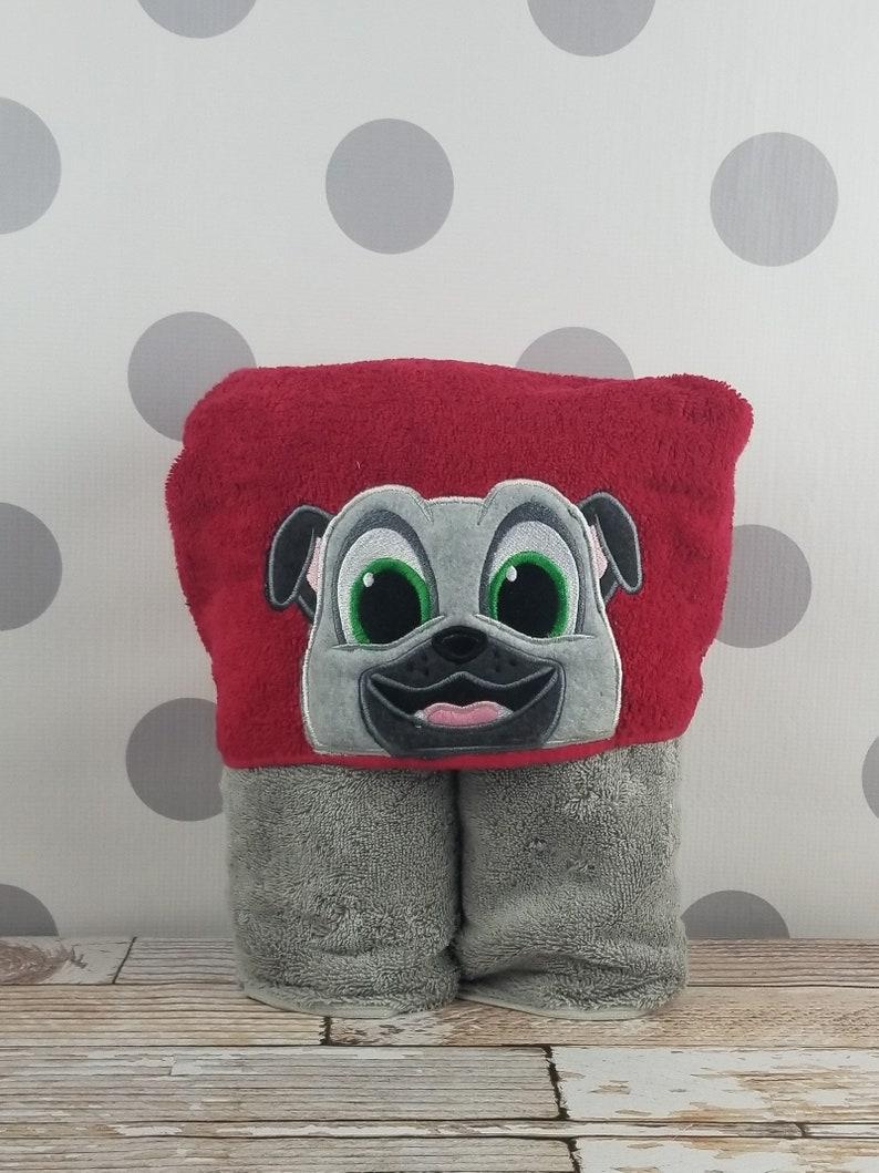 Kids Hooded Towel  Pug Hooded Towel  Gray Pug Towel for image 0
