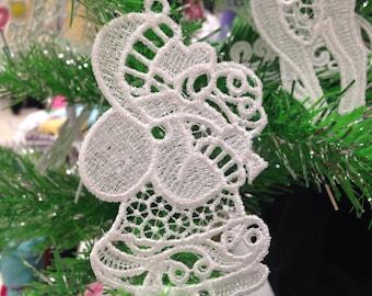 Santa Lace Christmas Tree Ornament - Lace Santa Ornament for Christmas Tree