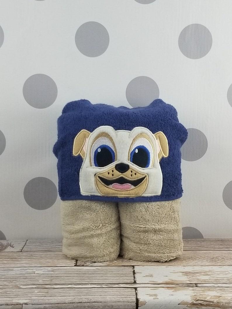 Toddler Hooded Towel  Tan Pug Hooded Towel  Pug Towel for image 0