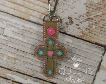 Decorative Cross Keyfob/Keychain with Swivel Clip. Great for Christmas Stocking Stuffers!