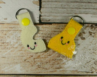 Macaroni and Cheese  Keyfob/Keychain - BFF Mac and Cheese Keychain for Best Friends
