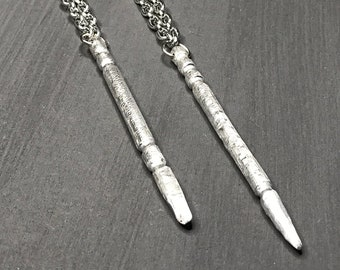 Necklace-wands-magic-pendant necklace-silver-wizards wand-necklace.