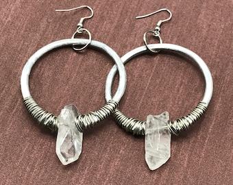 quartz hoop earrings - crystal hoop earrings - crystal jewelry - quartz earrings