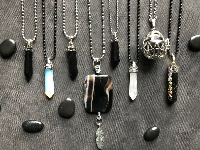 powerful woman crystals collection lot amulets magic metaphysical Wicca jewelry Midnight crystal jewelry