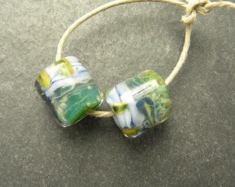 CrazyCatGlass Lampwork Boro Glass Beads Handmade Bayleaf barrel Pair