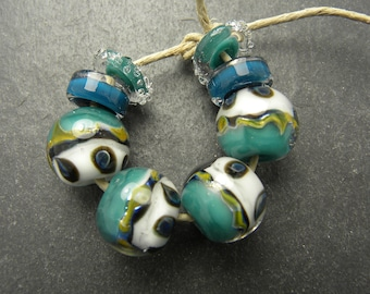 CrazyCatGlass Lampwork Boro Glass Beads Handmade Orion Rounds