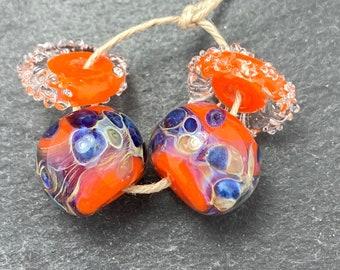 CrazyCatGlass Lampwork Boro Glass Beads Handmade Orange Crush Rounds
