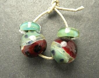 CrazyCatGlass Lampwork Boro Glass Beads Handmade Fiesty Round Pair