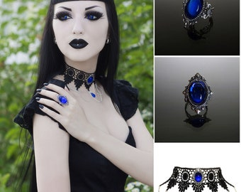 Victorian gothic ring & choker set - Sapphire blue silver filigree ring and lace necklace - goth steampunk wedding SINISTRA