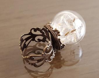 "Victorian ring, botanical filigree ring, Dandelion seed flower ""Make a wish"" ring copper bronze"