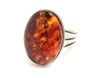 Amber Ring Semi Precious Gemstone Gold Honey Gem Stone Oval Adjustable 18 x 13 mm Silver Plated