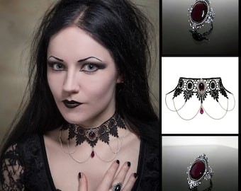 Victorian gothic ring & choker set - Amethyst purple silver filigree ring and lace necklace - goth steampunk wedding SINISTRA