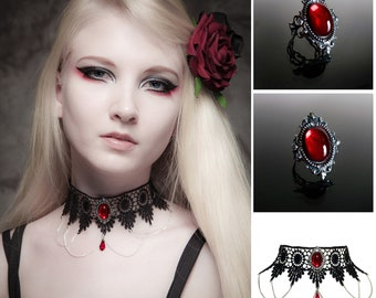 Victorian gothic ring & choker set - Ruby red silver filigree ring and lace necklace - goth steampunk wedding SINISTRA