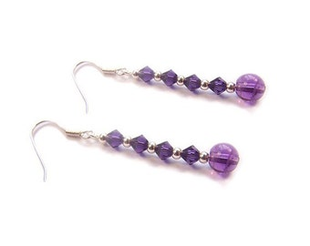 Sterling silver Amethyst earrings with purple Swarovski