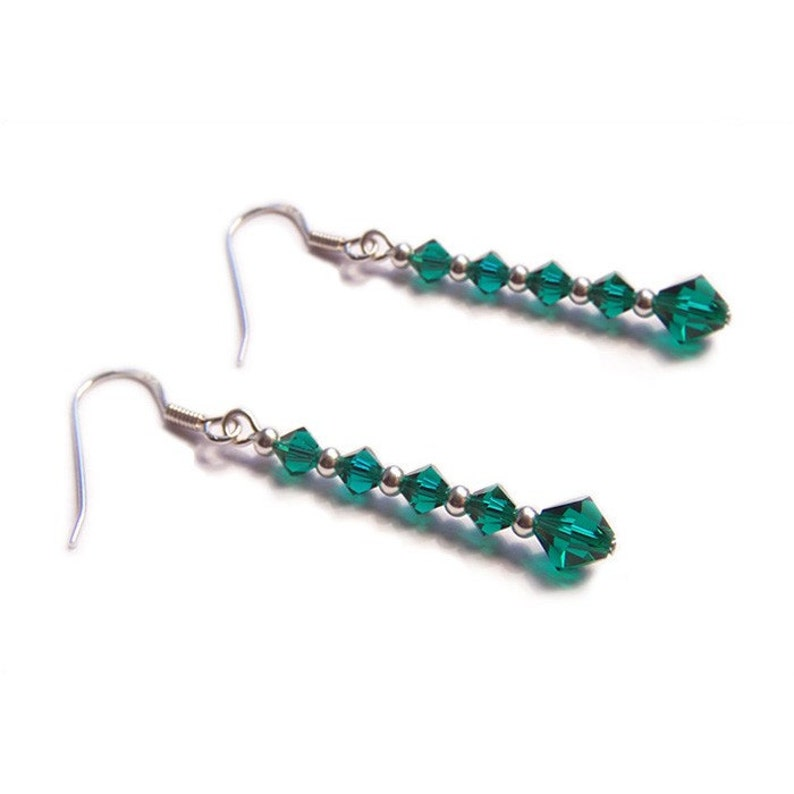 2e7c3c3ab Sterling silver Emerald green Swarovski earrings gothic | Etsy