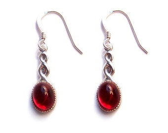 Sterling silver Celtic earrings in Ruby red, gothic red cabochon with a Sterling silver ear hook