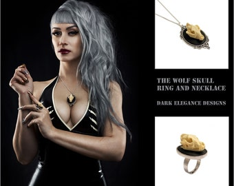 Wolf skull necklace & ring set - Gothic Cameo silver taxidermy goth steampunk pendant