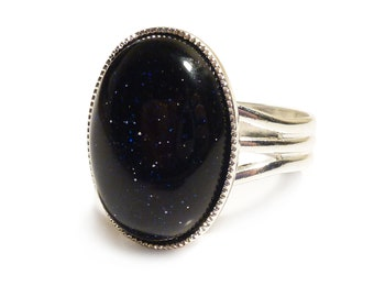 Victorian Gothic Ring Blue Goldstone Gemstone ring Semi Precious Oval Adjustable 18 x 13 mm Silver Plated