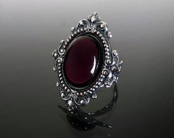 Victorian gothic ring - Amethyst purple ornate filigree steampunk ring - adjustable SINISTRA ring
