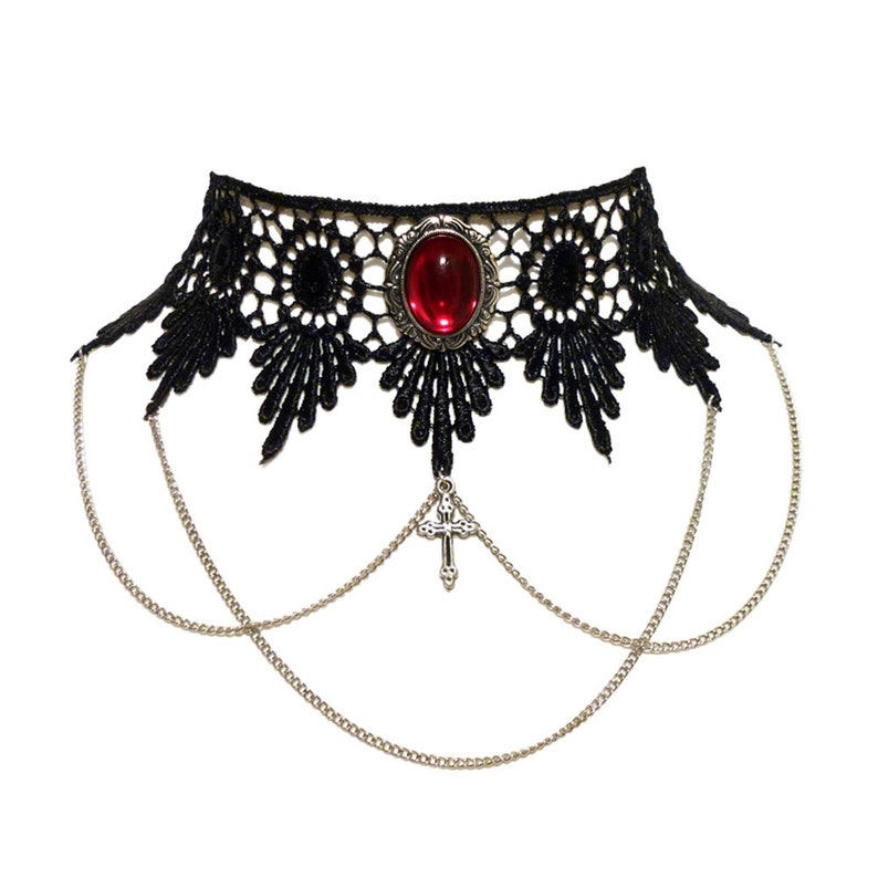 bd5e7b02c60a3 Black lace gothic choker necklace with chains, cross and ornate Ruby red  pendant - Victorian Steampunk LUCRETIA