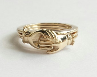 14K Gold Gimmel Ring, Antique Fede Ring, Gold Engagement Ring, Betrothal Ring, Claddagh Ring. Protective Hands Ring. Custom Size.