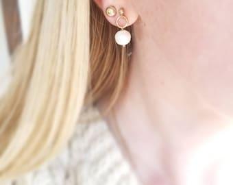 Minimalist 14K goldfill pearl circle stud drop earrings. Delicate 14K baroque pearl drop earrings. Gold pearl drop stud earrings.