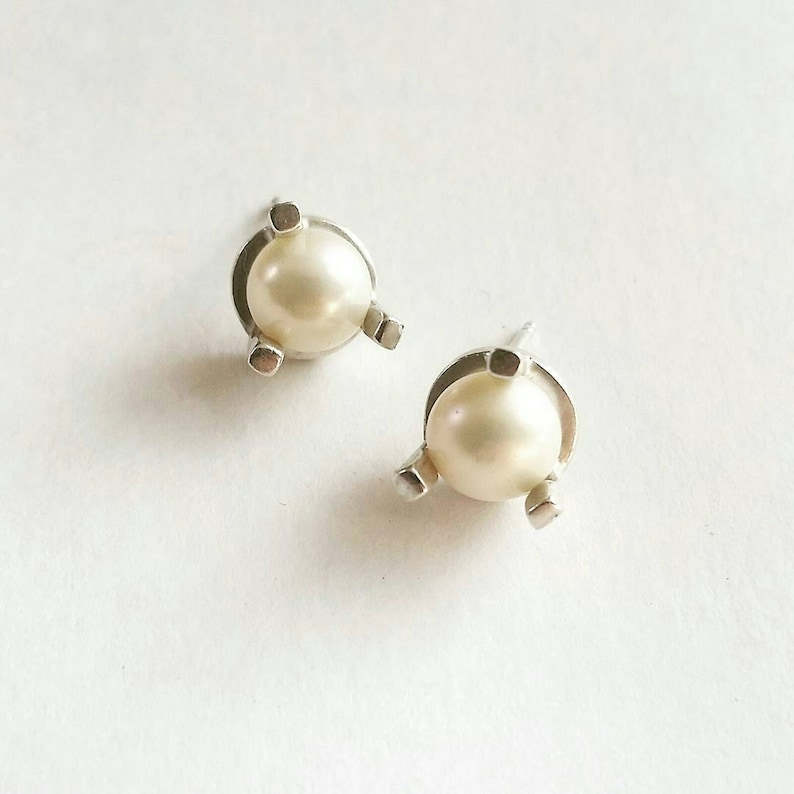 12977a994 Minimalist Large Prong Stud Earrings. Sterling Silver Pearl | Etsy