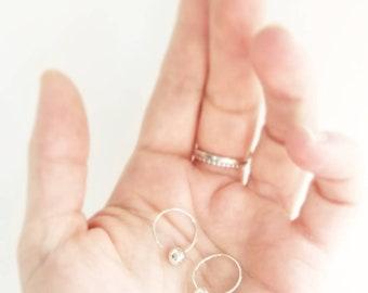 Minimalist sterling silver hoop earrings. Lightweight silver hoop earrings.  Sphere drop earrings. Gifts for her. Silver drop hoop earrings.