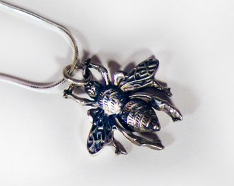 Sterling Silver Bee Pendant Necklace
