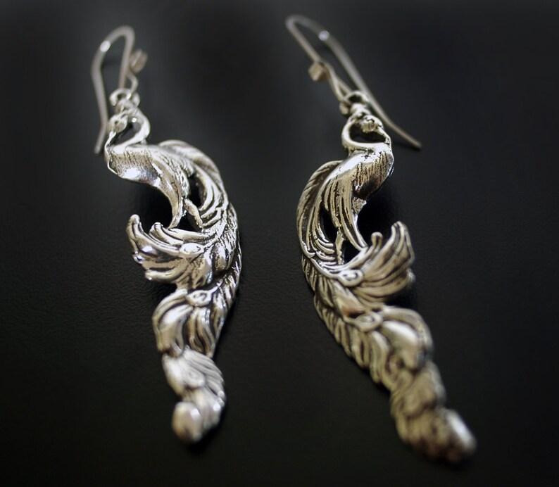 9a4602606 Vintage Heirloom Peacock Earrings in Sterling Silver | Etsy
