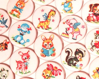 Cute Retro Baby Animal 1 Inch Pinback Buttons, Adorable VIntage Meyercord Designs - Set of Six (6)