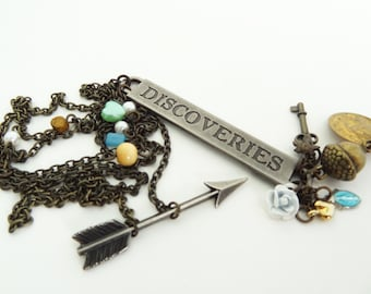 DISCOVERIES - Repurposed Vintage Antique Brass Chain and Charm Statement Necklace