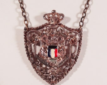Repurposed Vintage Royal Crest Shield Pendant Necklace