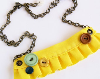 Yellow Fabric Ruffle Necklace with Retro Button Accents