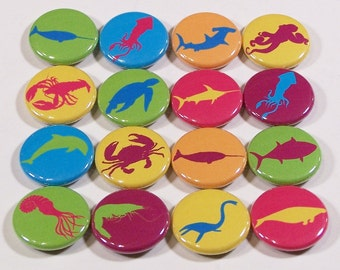 Bright Vibrant Colorful Sea Creatures (Fish, Crab, Lobster, Octopus, Squid, Etc.) 1 Inch Pinback Buttons - Set of Six